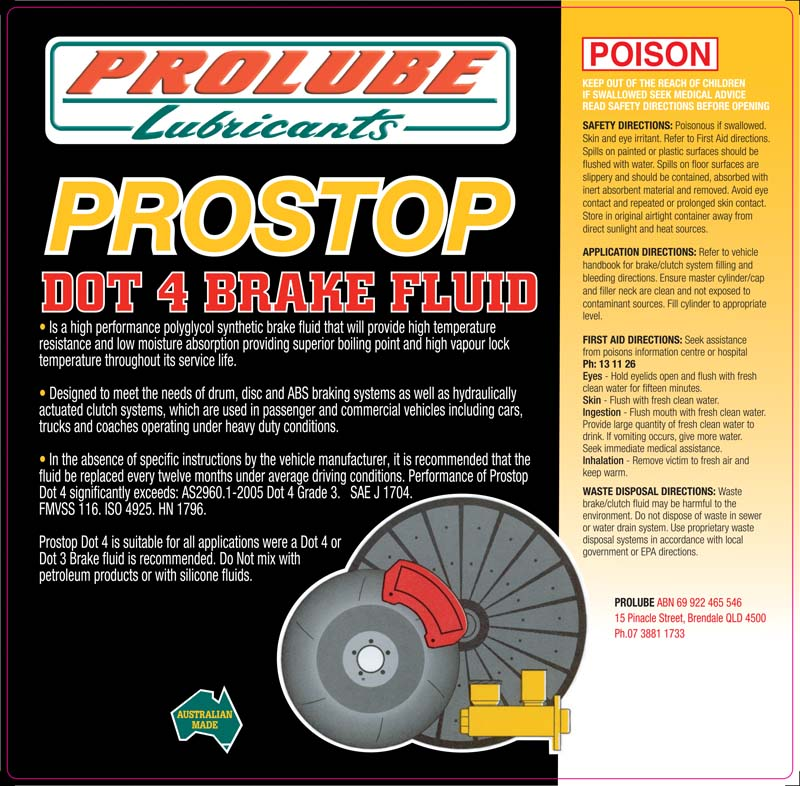 Prostop Dot 4 ABS Disc Brake and Clutch Fluid